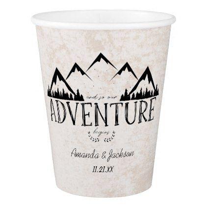 Mountains Adventure Begins Wedding Monogram Paper Cup - monogram gifts unique design style monogrammed diy cyo customize