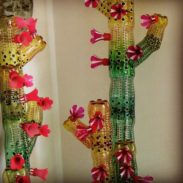 Cacti made out of 2 liter soda bottles