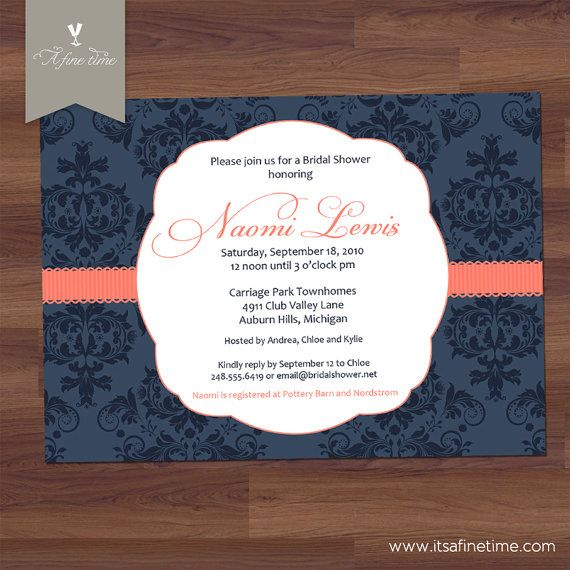 damask navy coral invitation diy printable by afinetimeinvitations 1499 - Navy And Coral Wedding Invitations