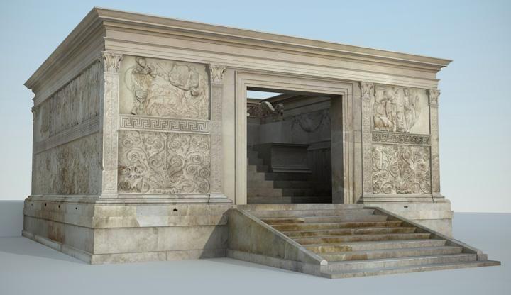 Ara Pacis Augustae (Altare della pace augustea),9 a.C. Altare, in marmo, dedicato da Augusto alla Pace.Da una zona del Campo Marzio.Oggi conservata presso Museo dell'Ara Pacis, Roma.