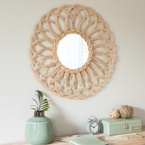Miroir rond en rotin D60