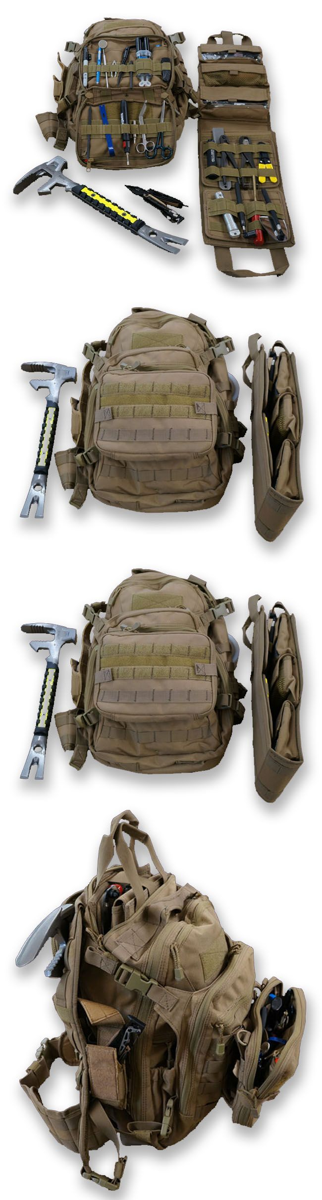 EOD GO BAG by Ideal Blasting I wouldn't put a pry bar in between my back and the pack + inserts are handy but heavy an d adding and extra small pouch on the front panel unbalance the whole thing. Non rigid tool-roll type instead of insert Pry bar on the