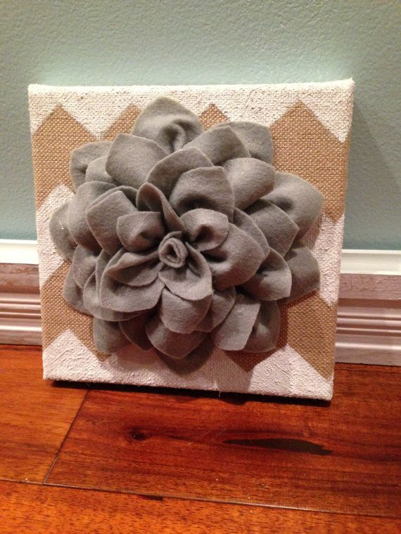 Wall Flower  Burlap canvas  Chevron  Wall by BigDreamsSmallBudget, $18.00