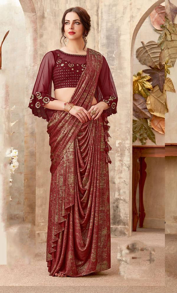 c77f389218 Brown Lycra Designer Fancy Sillk Saree With Embroidery Blouse   www ...