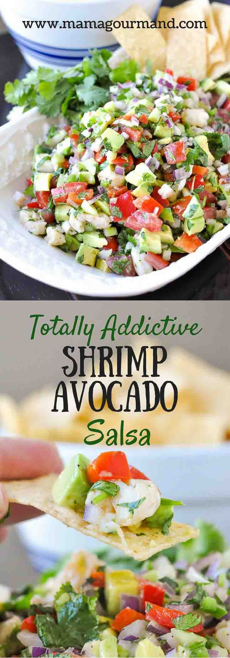 Totally Addictive Shrimp Avocado Salsa uses fresh garden ingredients and tosses together to make one surprisingly flavorful and addictive appetizer. http://www.mamagourmand.com  via @mamagourmand