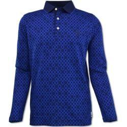 Gemustertes Langarm Poloshirt, Blau Carlo Colucci