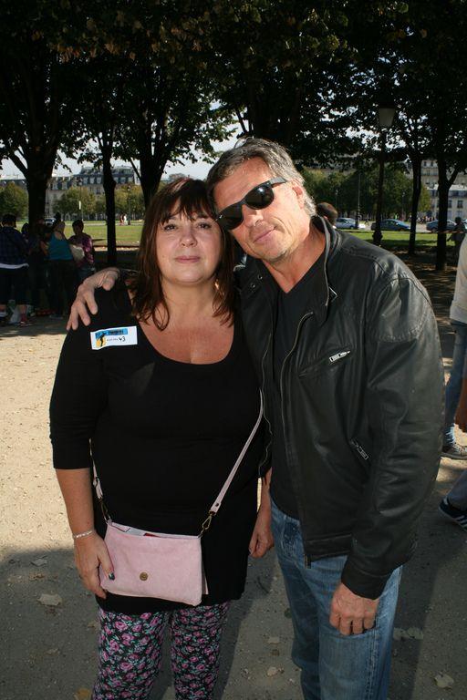 Michèle Bernier et son ex-compagnon Bruno Gaccio à Paris, le 28 septembre 2014.