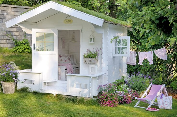 cute white summerhouse ~ lovingly repinned by www.skipperwoodhome.co.uk