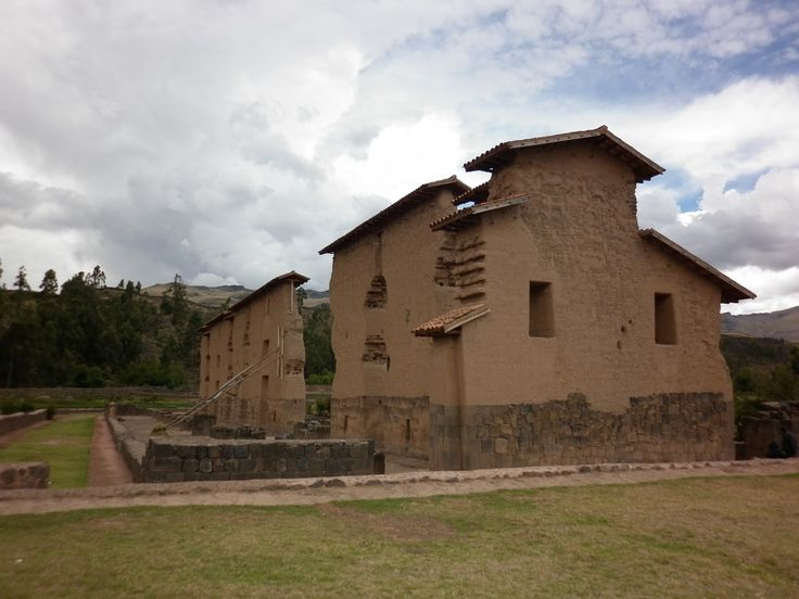 Inca adobe wall, between Puno and Cusco, Peru