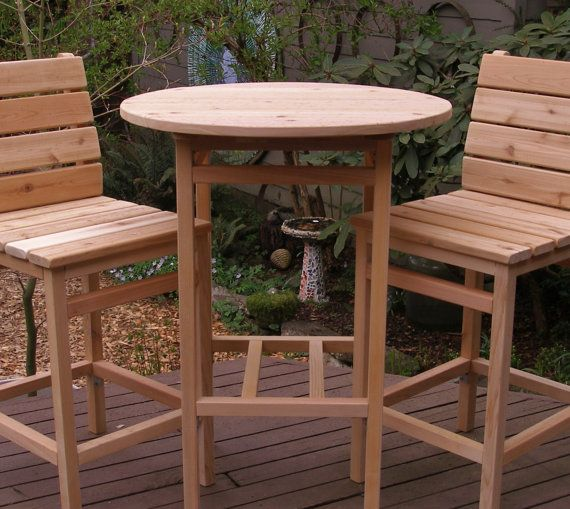 My Laughing Creek handcrafted Outdoor Cedar Round Top Tall Table is available in 15 beautiful colors! Shown in photos are my Laughing Creek