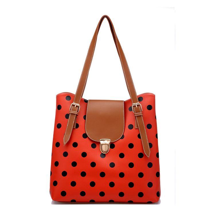 Classic design spring handbag vintage messenger bag candy color polka dot bag HB037 $17.50