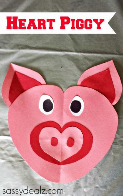 Learn How To Make A Pig Out Of Paper Hearts Fun And Easy Craft For Kids Heart Shaped Animals Are Great Valentines Day