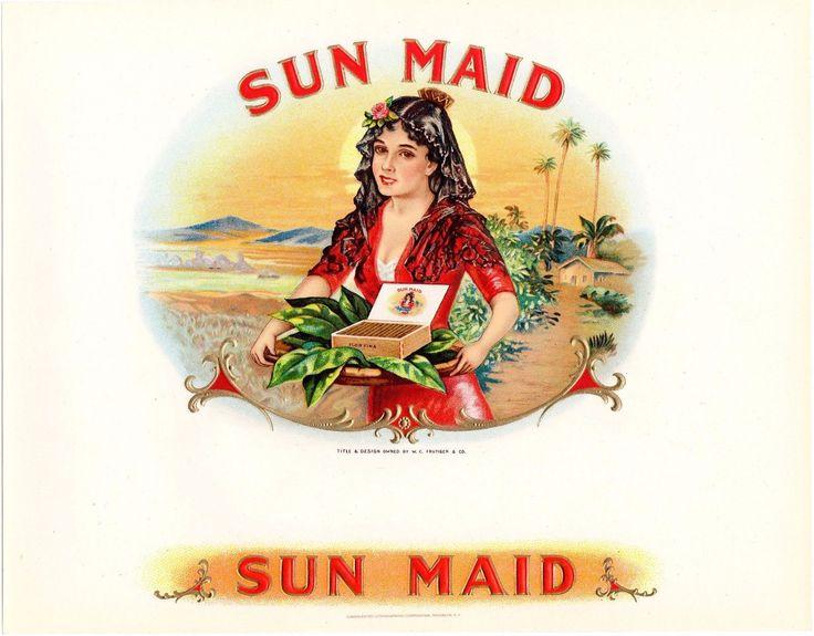 Caja de puros Etiqueta Vintage en relieve Bronceado Original C1920S Sol Maid palmeras   eBay