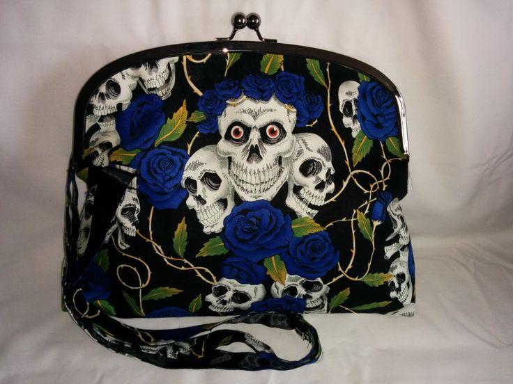 Handmade frame bag in blue skull & roses print by Koolies Kreations at IAMA