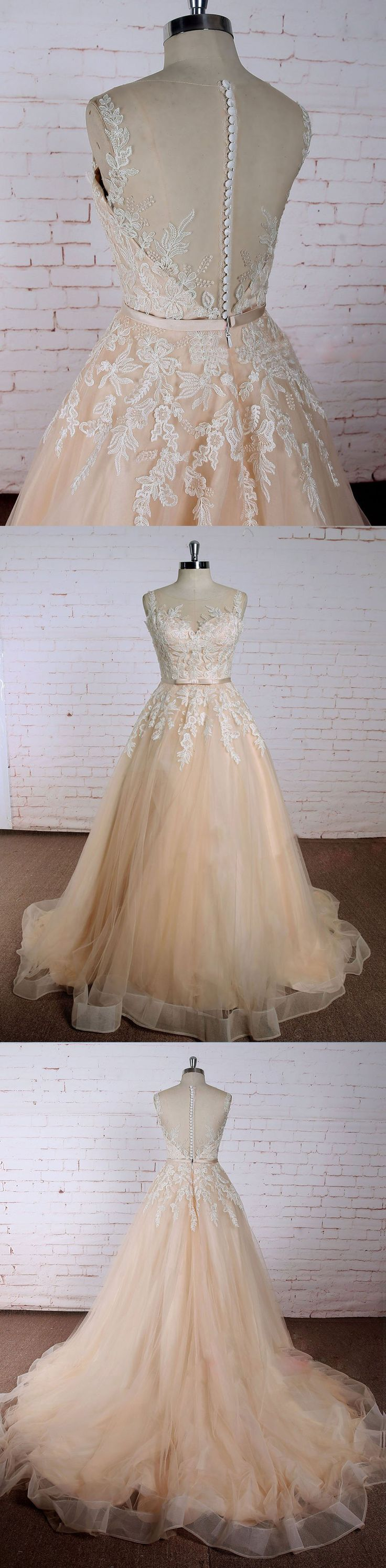 Sweet 16 Dresses | Beautiful lace appliqued champa… -  Prom shopping is alive and well on Pinterest. Compare prices for this @ Wrhel.com before you commit to buy. #Prom