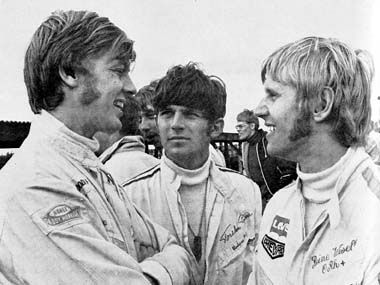 Ronnie Peterson, Torsten Palm and Reine Wisell, Anderstorp, Sweden, 1969.