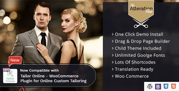 Alteration Shop - WordPress WooCommerce Theme for Tailors and Shops by Themographics  Discount valid only till 16-07-2017  Now Compatible with Tailor Online ¨C WooCommerce Plugin for Online Custom Tailoring. Please
