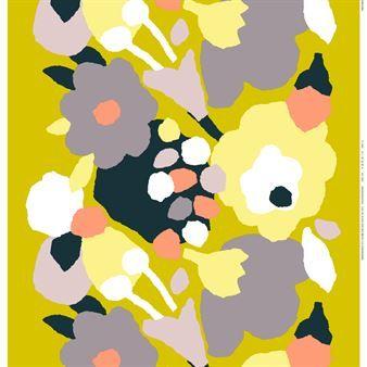 Det färgglada Päivänsankari tyget i gul-grå-svart är designat av Reeta Ek för Marimekko. Päivänsankari betyder