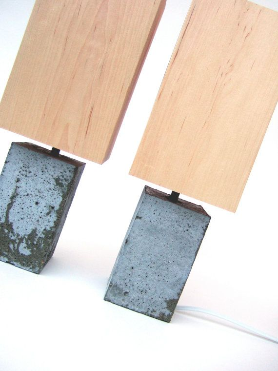 petite concrete reading lamp. with wood veneer lampshade. on Etsy, £134.43