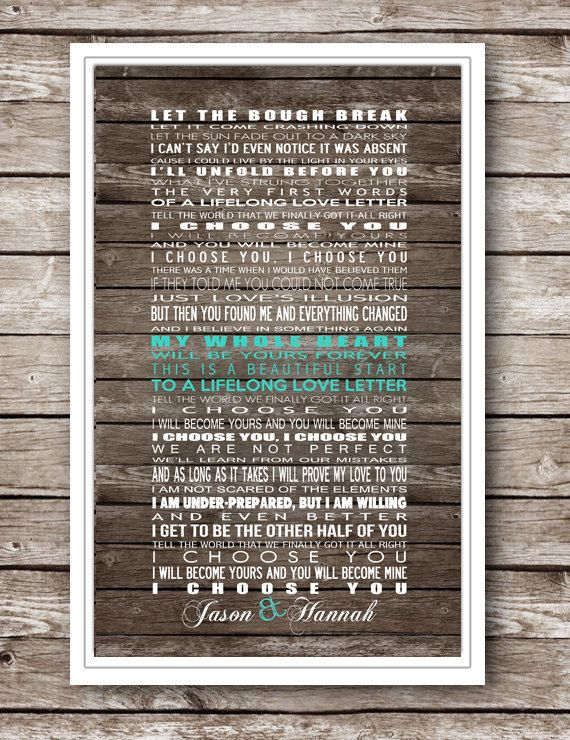 Wedding gift anyone?? I Choose You by Sara Bareilles Printable by ...