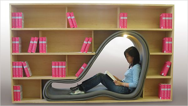 """The """"Trick"""" bookcase is a continuation of Adachi's work in exploring creative and unconventional book shelving, such as """"Cave,"""" which was inspired by her fascination with pigeons and their ability to create their own nooks in virtually any space."""