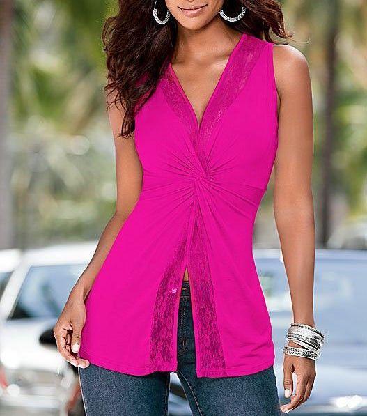 2017 Damen Spitzenbund V-Ausschnitt Shirt Pink