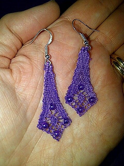 Purple bobbin lace and bead earrings by Clare