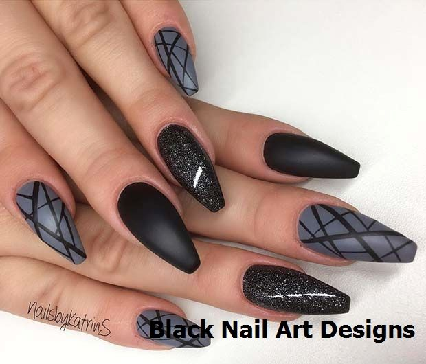 Astonishing Moon And Stars Nail Art Design In Black And Gray Colors Star Nail Art Simple Nail Art Designs Black Nail Designs