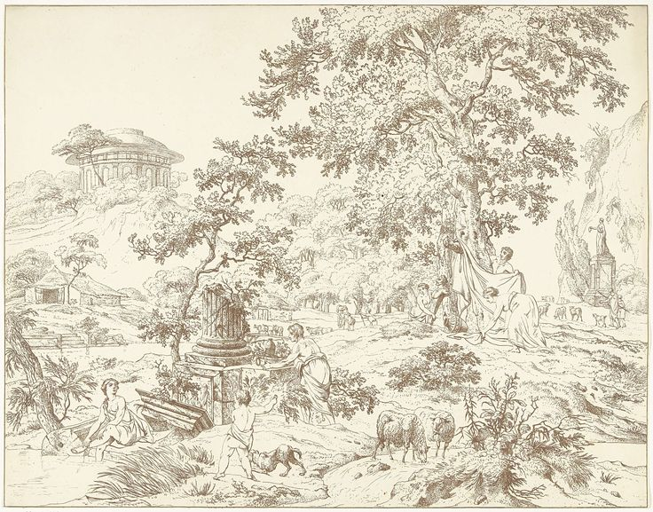 Hermanus Fock | Arkadisch landschap met voetbadende vrouw, Hermanus Fock, 1781 - 1822 | Landschap met verschillende figuren, schapen en een rond gebouw op een berg. Op de voorgrond drinken twee schapen uit een stroompje. Een kind en een hond staan aan de oever van een meertje waar een vrouw haar voeten in baadt. Onder de bomen zijn mannen en vrouwen in de weer met lakens. Op de achtergrond loopt een schaapsherder met zijn kudde langs een beeld op een hoge sokkel.
