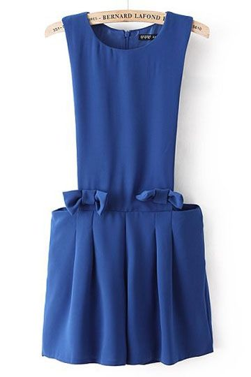 REGISTER ON PERSUNMALL.COM #NEW #prom #heel #shoes #sandals #women #black #beige #red #green #blue #white #pink #purple Simple Bowknot Design Jumpsuit in Blue