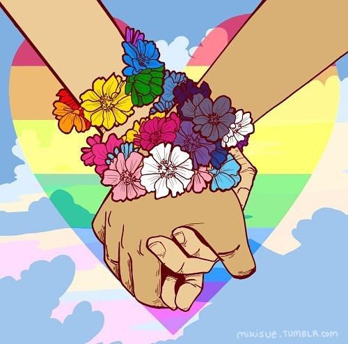 """Lgbt mikisue: """" I'm unable to hold vigil tonight home in Orlando with my family and friends so I did all I could do: Make art. To all of my fellow Orlando LGBT+ family, and those elsewhere, I love you all. Art Gay, Lgbt Anime, Pansexual Pride, Gay Aesthetic, Lesbian Pride, Lesbian Art, Lgbt Community, Transgender, Artwork"""