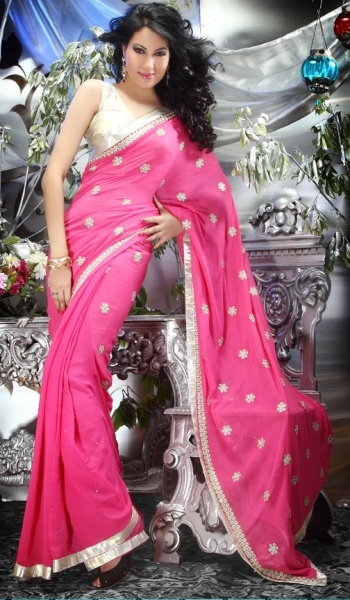 Pink Georgette Traditional Indian Party Wear Saree