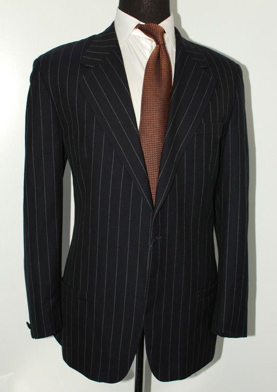 Gianni Versace Suit (Men's Pre-owned Navy Blue Pinstripe Gangster Suit)