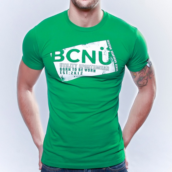 Spor-TEE Green  Born To Be Worn this 100% Cotton UtiliTEE is useful, functional, versatile, sporty and has been designed for everyday use. Dress it up, dress it down, wear it in, wear it out.     It's our favourite UtiliTee. It look's good, feel's good and is designed for urban lifestyle. www.bcnuclothing.com