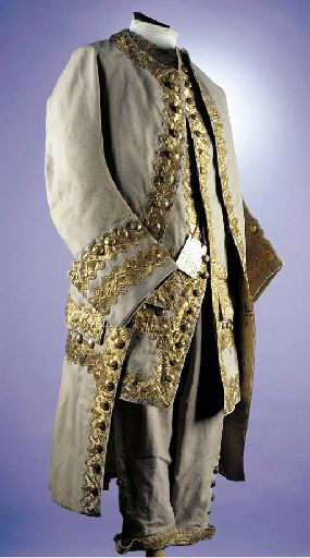 3-piece court suit, 18th century. Mushroom facecloth, trimmed with deep bands of gold braid, buttons covered in gold foil.