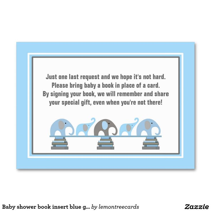 Baby shower book insert blue gray elephants large business cards (Pack of 100)