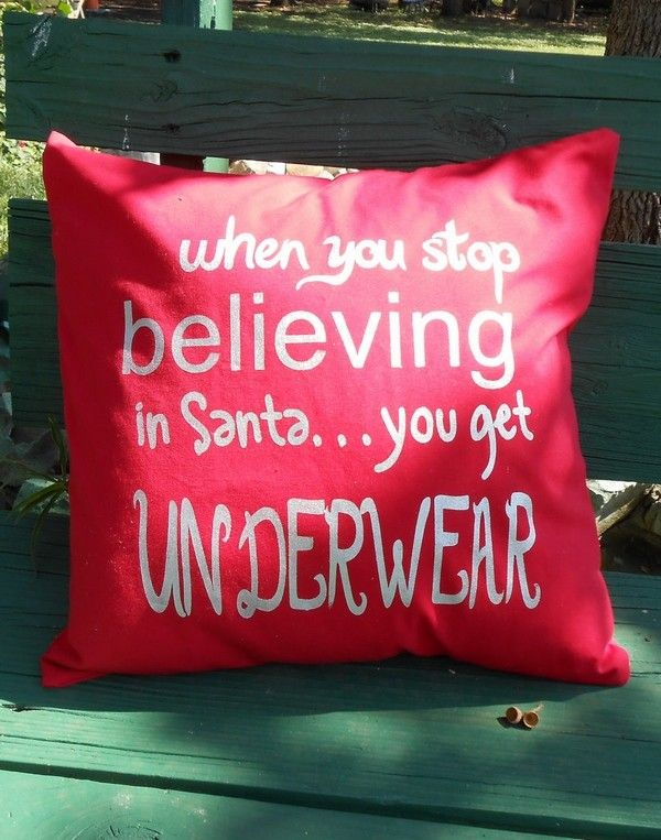 2013 Handpainted Christmas Throw Pillow Covers When You Stop Believing in Santa. & 38 best Cute Christmas Handmade Pillows images on Pinterest ... pillowsntoast.com