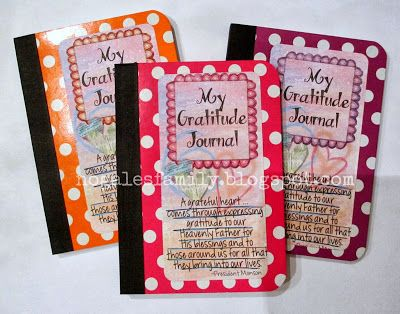 Fun gratitude journals for activity days to. It would be cute to put a good thought clicker counter with it.