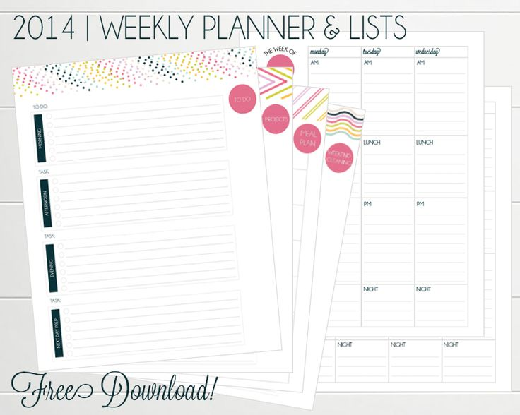 2014 Weekly Planner. Free download with to-do lists, meal planning and project sheets