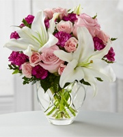 Flowers: Sprays Rose, Minis Carnations, Flowers Bouquets, Glasses Vase, Mothers Day, Oriental Lilies, Beautiful Flowers, Pink Rose, Gardens Terraces