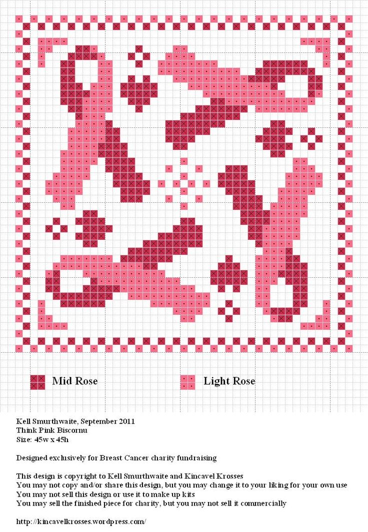 Knitted Pattern Graph Chart Pink Ribbon : 101 best Just Charts images on Pinterest Knitting charts, Cross stitch char...