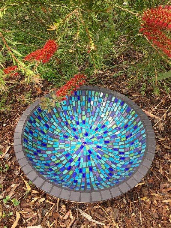 Mozaïek vogel bad Birdbath Unieke tuin door RebeccaNaylorMosaics