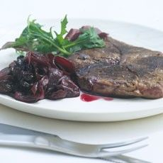 Grilled Venison Steaks with Red Onion, Grape and Raisin Confit
