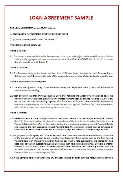 Loan Agreement Template template Pinterest Template