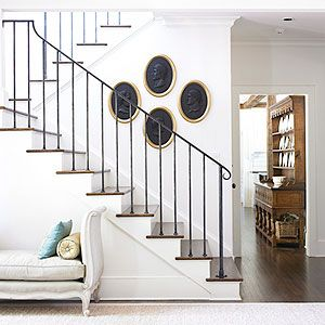 Amy D MorrisTraditional Staircas, Stairs Railings, Morris Interiors, Staircases, Iron Railings, Living Room, Interiors Design, Wrought Iron, White Wall