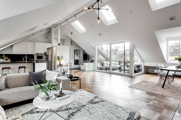 Exclusive Attic Apartment Design In Stockholm