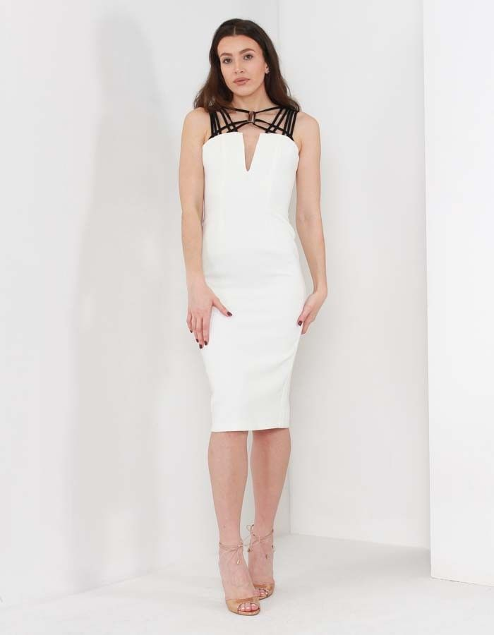 8th Sign Brooklyn Neck Detail Contrast Midi Ivory | Accent Clothing