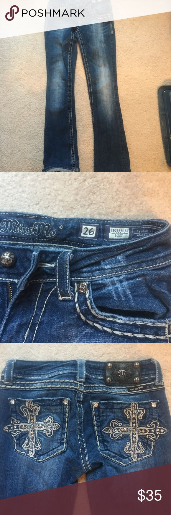 Miss Me jeans size 26 Size 26 cute boot cut Miss Me Jeans! Don't fit me anymore! :( Miss Me Jeans Boot Cut