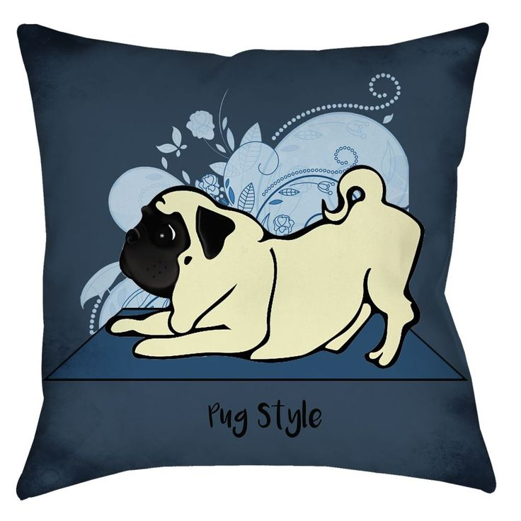 """This throw pillow is part of the """"Dogs Doing Yoga on Your Stuff"""" original artwork created by 4 Paws Merch. Makes the perfect gift for the PUG lover in your life! - Made and printed in the U.S.A - Fabr"""