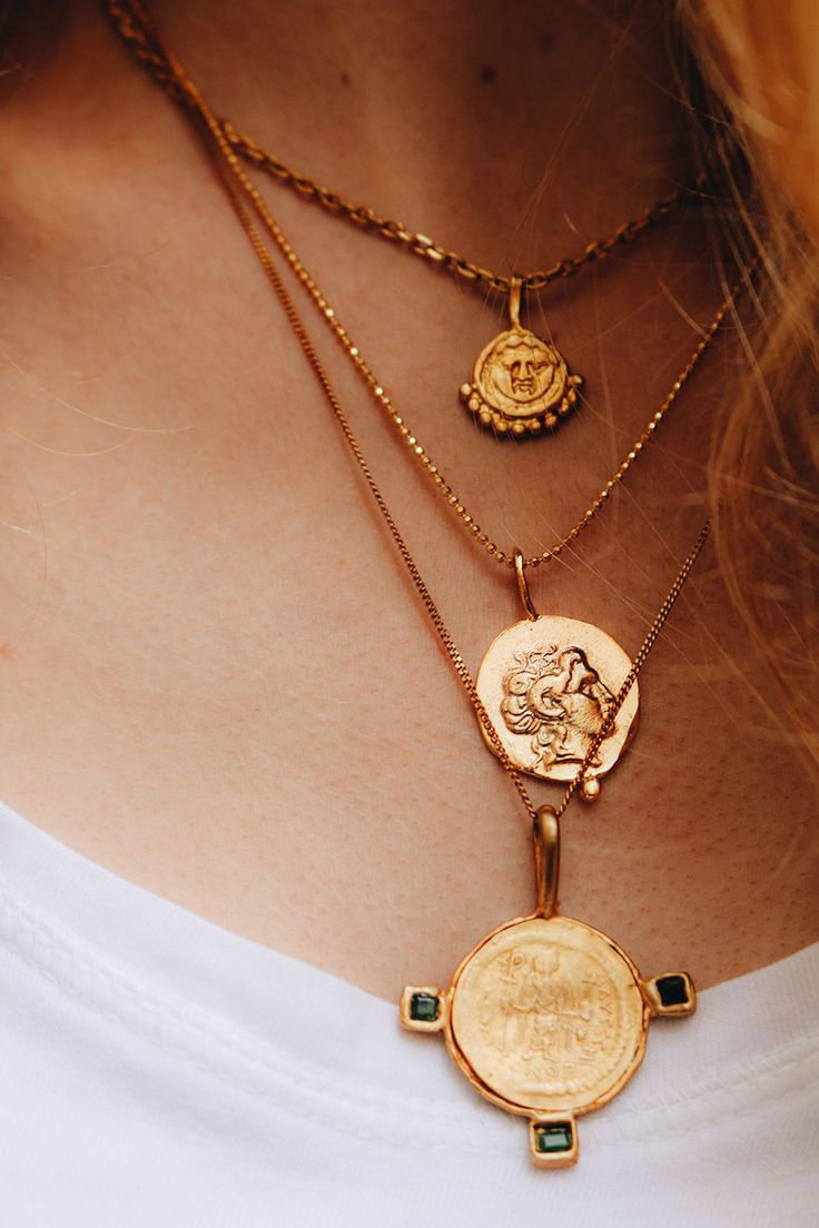 Currently Crushing On: Coin Necklaces, gold accents/accessories to dress up a casual outfit like a white shirt, unique jewelry, layering necklaces.